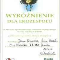 Zespół Szkół w Staninie - WYRÓŻNIENIE W OGÓLNOPOLSKIM KONKURSIE