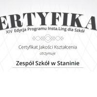 Zespół Szkół w Staninie - Certyfikat XIV edycji Programu Insta.Ling dla Szkół